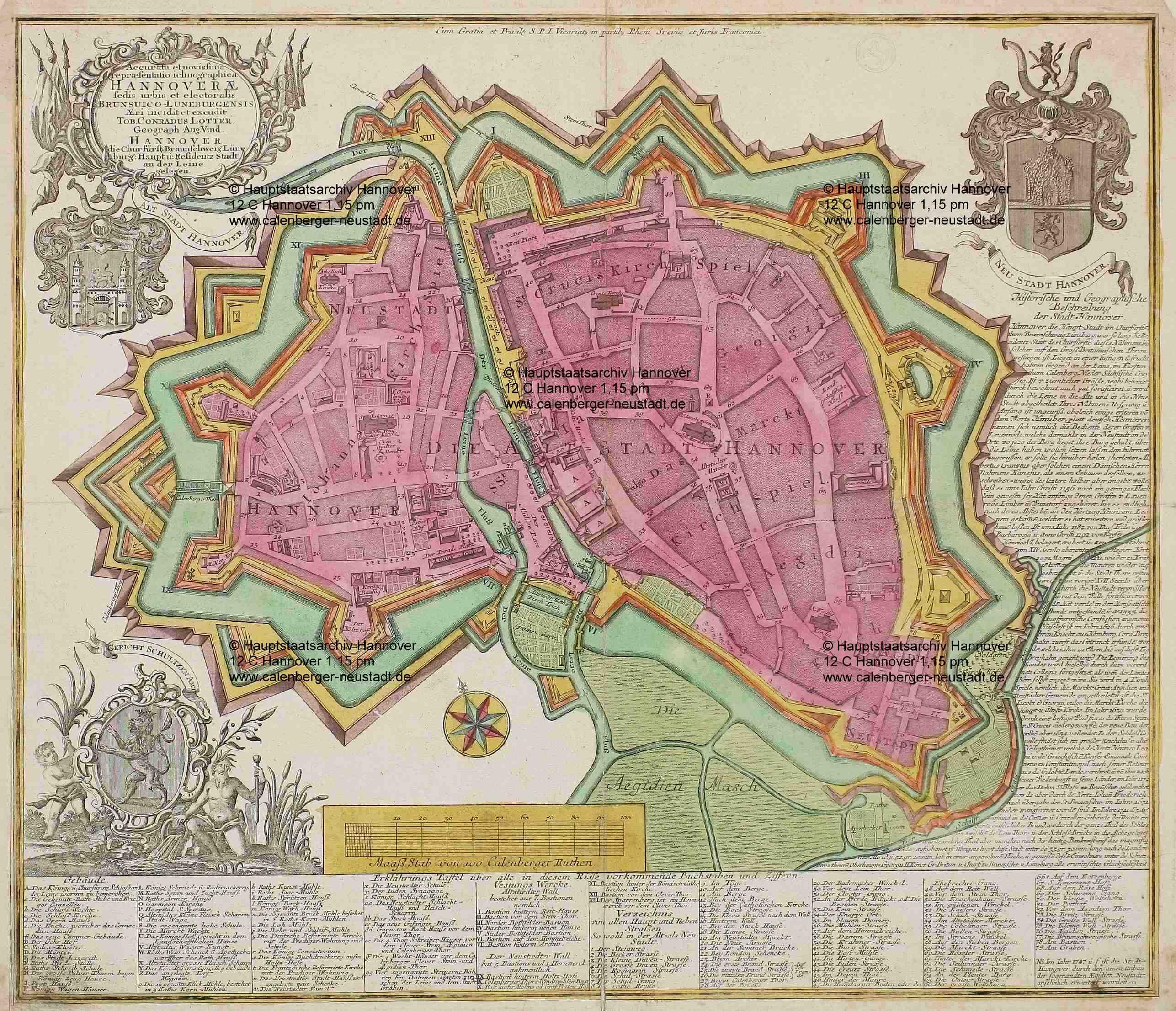 Karte von Hannover mit der 1747 entstandenen Aegidien-Vorstadt