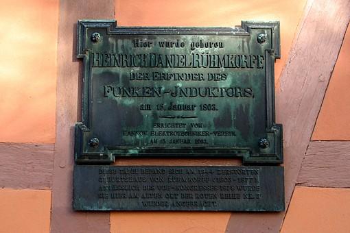 Geburtshaus von Heinrich Daniel Ruehmkorff Gedenktafel (Foto: Detlef René Spanka)
